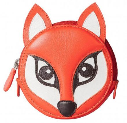 Pinky Fox Round Orange Leather Coin Purse